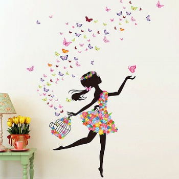 Fairies Girl Butterfly Flowers Art Decal Wall Stickers Wall Decoration