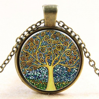 Retro Vintage Tree of Life Cabochon Bronze Pendant Necklace