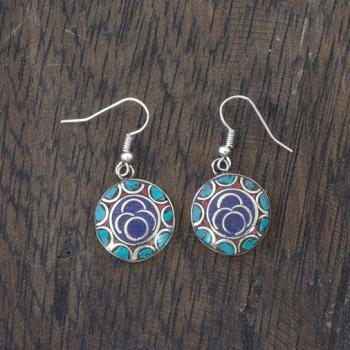 Blue Circle Nepalese Earrings