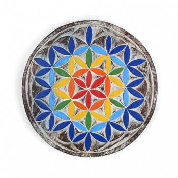 Wooden Vibrant Flower of Life Plaque