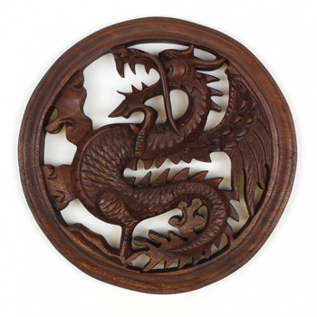 Carved Winged Dragon Plaque
