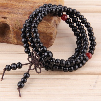 6mm Natural Sandalwood 108 beads Wood Prayer Bead Mala Bracelet Black