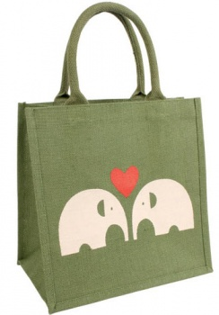 Green Jute Shopping Bag With Elephants