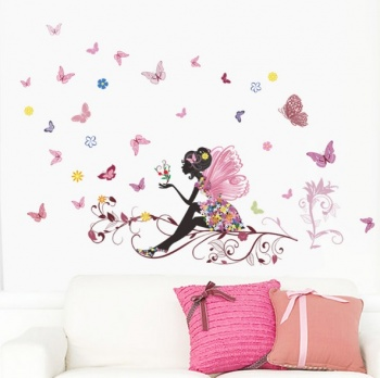 Flower Fairies on a tree branch Art Decal Wall Stickers