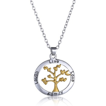 Tree of Live with Live, Love, Laugh and Family Pendant