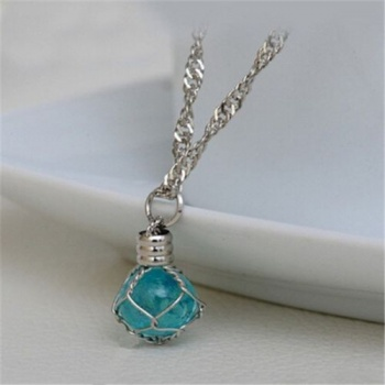 Blue Luminous Crystal Ball Glow In The Dark Necklace