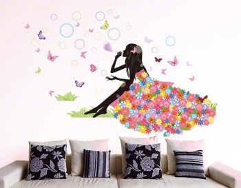 Fairies Girl Butterfly Flowers Art Decal Wall Stickers