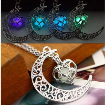 Purple Glow in the Dark Moon Necklace