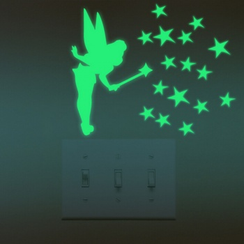 Tinker Bell Glow in Dark Stars - Luminous Wall Stickers - Yellow