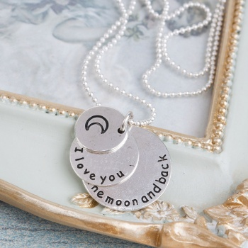 Handmade Necklace with I love to you to the moon and back