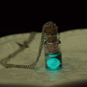 Vintage Luminous Glow In The Dark Flower Pendant with Glass Wish Bottle