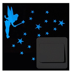 Tinker Bell Glow in Dark Stars - Luminous Wall Stickers - Blue