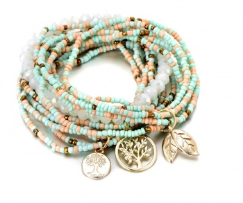 Set of 3 Beaded Tree of Life Charm Bracelets - Aqua