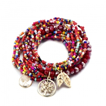 Set of 3 Beaded Tree of Life Charm Bracelets - Red