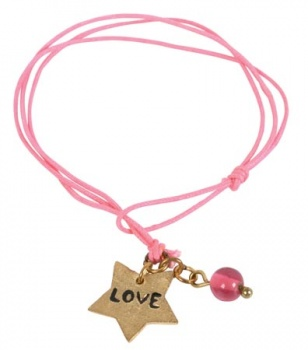 Pink Friendship Bracelet with Love Charm