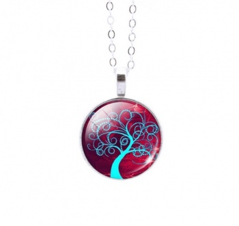 Round Colourful Tree of Life Pendant 7