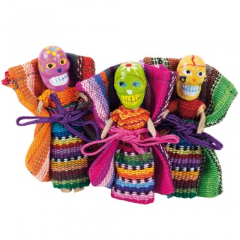 Worry doll skull in bag