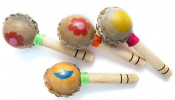 Fair Trade Small Colourful Hide Maraca