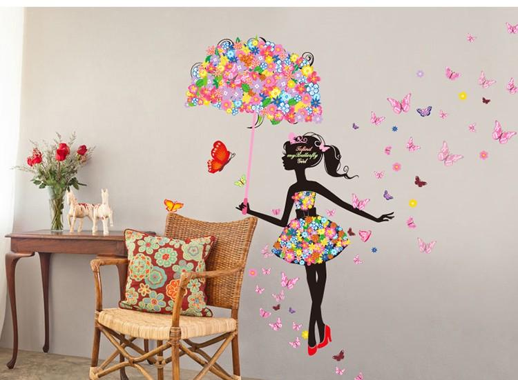 Flower fairies girl butterfly art decal wall stickers