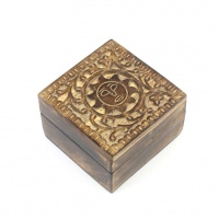 Carved Sun Mango Wood Box - White