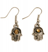 Earrings Hamsa Hand with Orange Stone