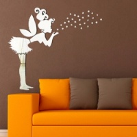 Angel Fairy & Stars Mirror Wall Sticker Kids Bedroom Decoration