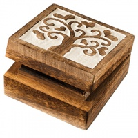 Tree of love carved square wooden box
