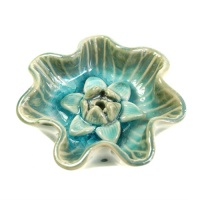Incense holder round, blue glaze lotus