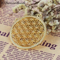 Round Flower of Life Pendant - Gold