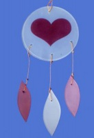 Heart Glass Chime Pink/White