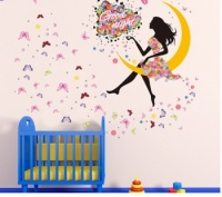 Butterfly  and Flower Fairies Girl Moon Art Decal Wall Stickers
