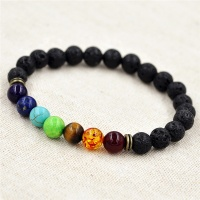 Muti-color Lava Rock Beaded Stretch Bracelet - 7 Chakra Beads