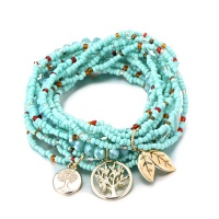 Set of 3 Beaded Tree of Life Charm Bracelets - Turquiose