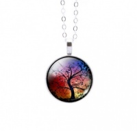 Round Colourful Tree of Life Pendant 4