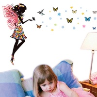 Butterfly Girl Fairy Vinyl Wall Sticker with Bird Art Decal
