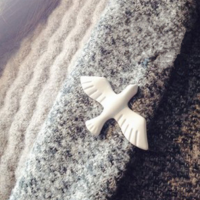 White Enamel Bird / Dove Pin