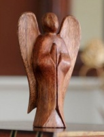 Fairtrade Dark Wooden Angel Statue - 10 Cm
