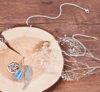 Handmade Necklace with Pentacle, Wishing Bottle and Angel Wings