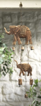 Windchime with 2 elephants and bells